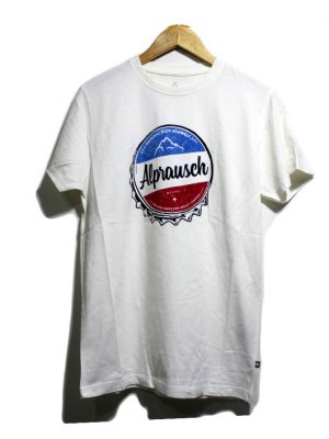Alprausch Casual White Printed Half Sleeves Original Cotton T-Shirt