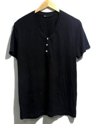 WE Casual Black V-Neck Half Sleeves Original Cotton T-Shirt