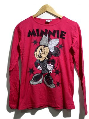 MINNIE MOUSE Casual Red Printed Full Sleeves Original Cotton T-Shirt