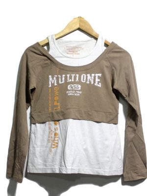 MULTILONE SPOTRS Casual White Double Full Sleeves Original Cotton T-Shirt