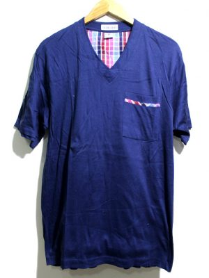 ROYAL Casual Blue V-Neck Half Sleeves Original Cotton T-Shirt