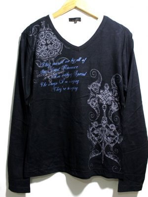 Casual Black Printed Full Sleeves Original Cotton T-Shirt