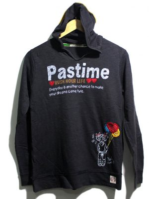 Rush Hour Imported Original Printed Black Cotton Hoodie For Women