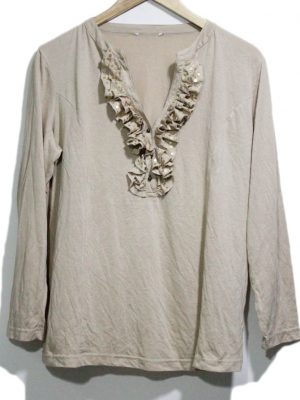 Fancy Original Light Brown Color Cotton Top For Women
