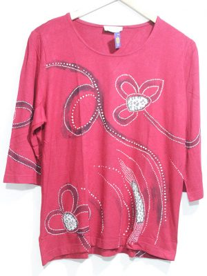 Fancy Original Red Printed Top For Women