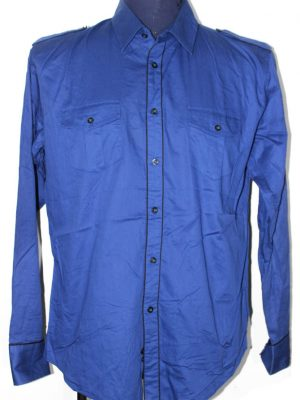 Zara Branded Original Blue Cotton Shirt For Men